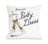 Put on Your Party Dress/Party Dresses - White Gold Throw Pillow by Timree 18 X 18