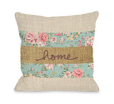 Home Floral Burlap - Multi Throw Pillow by OBC 18 X 18