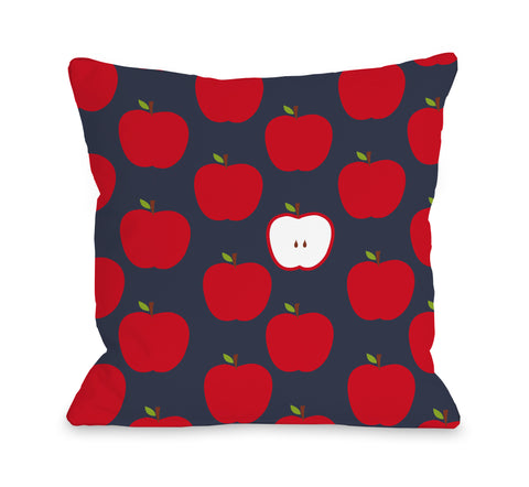 Appley - Blue Red Throw Pillow by OBC 18 X 18