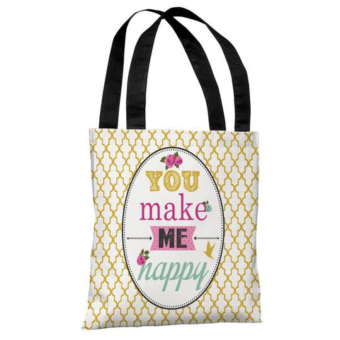 You Make Me Happy - Yellow Multi Tote Bag by Angela Nickeas