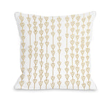 Hearts On A String - White Gold Throw Pillow by OBC 18 X 18