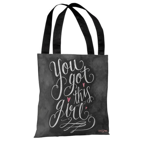 You Got This, Girl - Gray Pink Tote Bag by Lily & Val