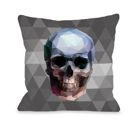 Skullica - Gray Multi Throw Pillow by OBC 18 X 18
