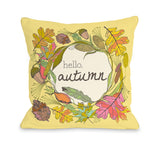 Hello Autumn - Yellow Multi Throw Pillow by OBC 18 X 18