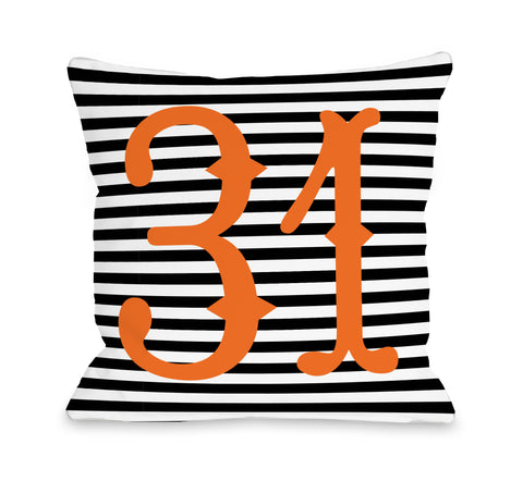 31st of October - Black White Orange Throw Pillow by OBC 18 X 18