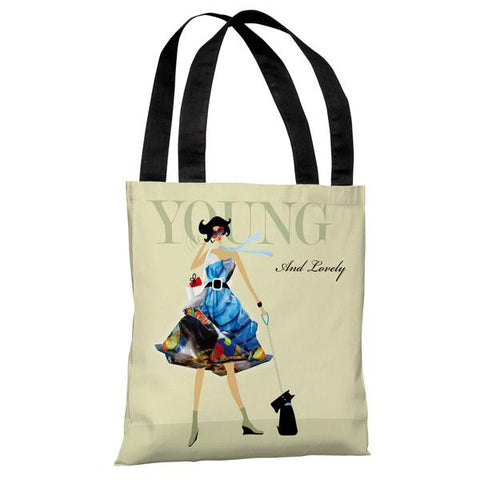 Young and Lovely - Green Multi Tote Bag by Dominique Vari