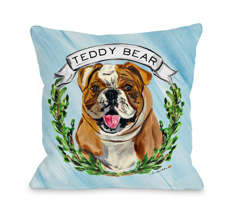 Personalized Timree Bulldog - Blue Multi Throw Pillow by Timree 18 X 18