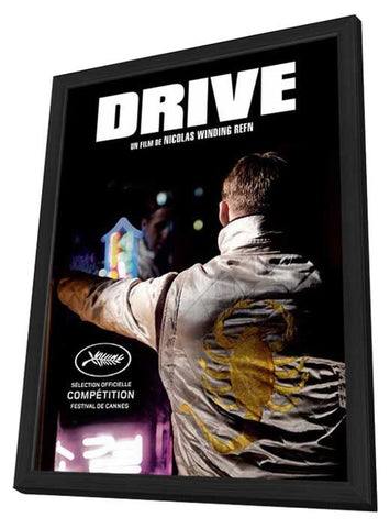 Drive 11 x 17 Movie Poster - French Style A - in Deluxe Wood Frame