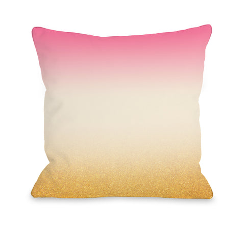 Addy - Pink Cream Gold Throw Pillow by OBC 18 X 18