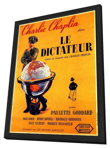 The Great Dictator 11 x 17 Movie Poster - French Style A - in Deluxe Wood Frame
