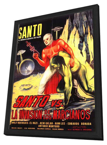 Santo Versus the Martian Invasion 11 x 17 Movie Poster - Spanish Style A - in Deluxe Wood Frame