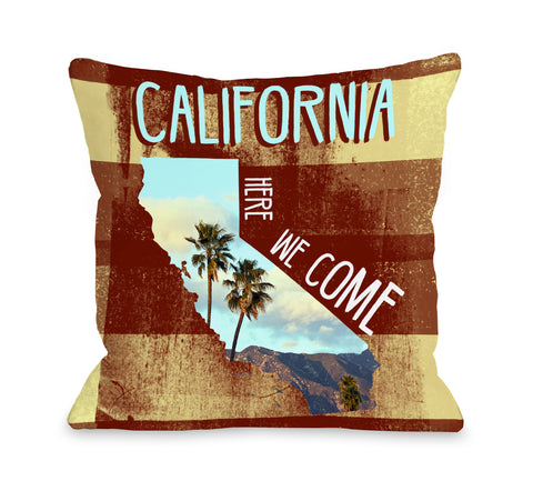 California Here We Come - Multi Throw Pillow by OBC 18 X 18