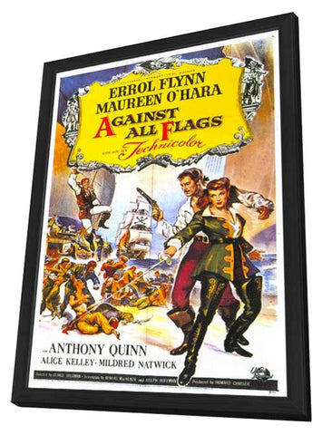 Against All Flags 11 x 17 Movie Poster - Style A - in Deluxe Wood Frame