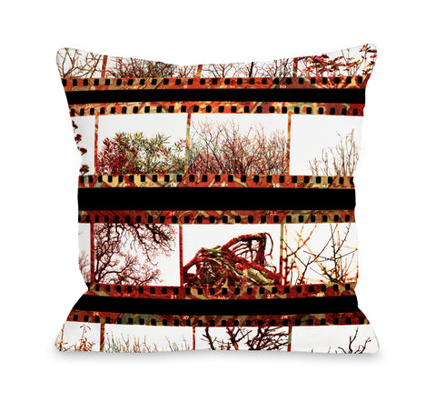 Film Strip Trees - Multi Throw Pillow by OBC 18 X 18
