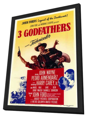 3 Godfathers 11 x 17 Movie Poster - Style A - in Deluxe Wood Frame