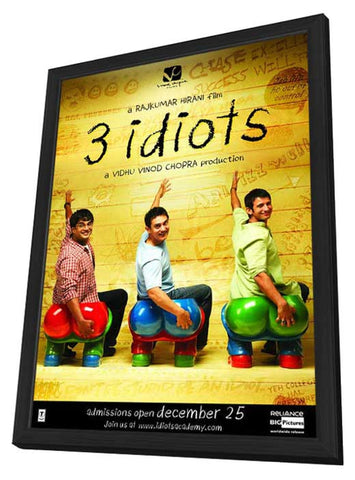 3 Idiots 11 x 17 Movie Poster - Indian Style B - in Deluxe Wood Frame