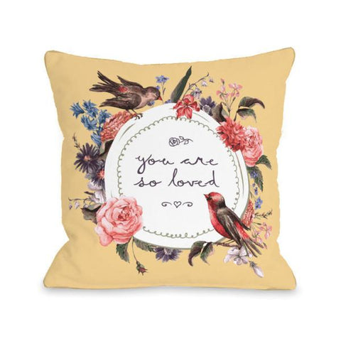 You Are So Loved Floral Throw Pillow by OBC