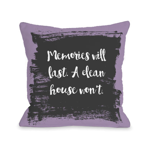 Memories Will Last - Purple Gray Throw Pillow by OBC 18 X 18