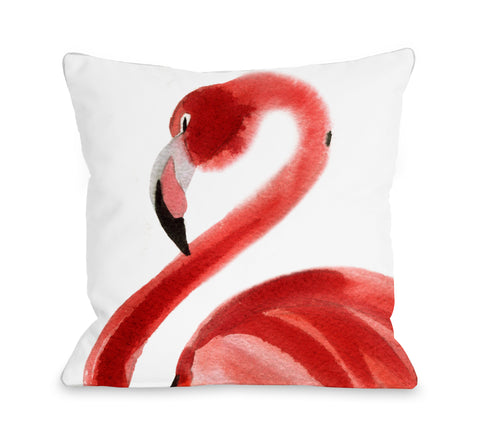 Oversized Flamingo - Pink Throw Pillow by OBC 18 X 18