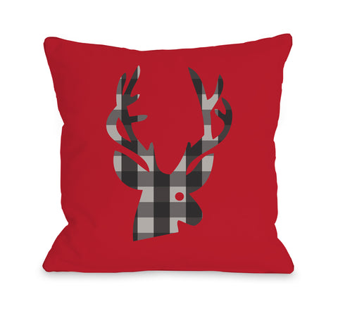 Plaid Deer - Red Multi Throw Pillow by OBC 18 X 18
