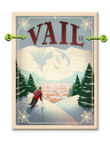Vail, Art & Soul of America by Anderson Designs, downhill skiier Wood 23x31