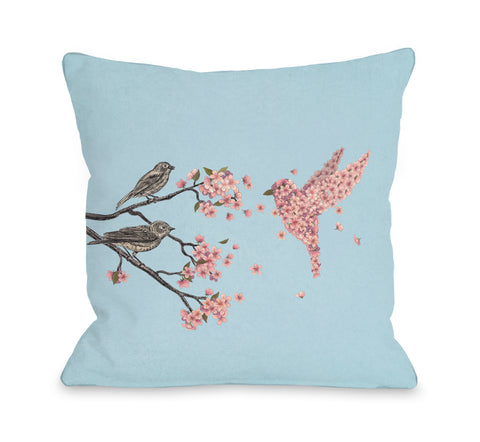 Blossom Bird Sky - Multi Throw Pillow by Terry Fan 18 X 18