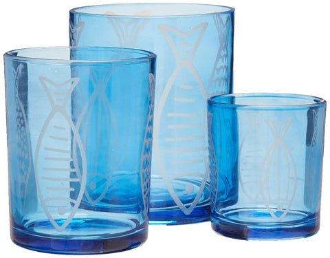 Gerson 94646 Set/3 Fish Hurricanes Home Decor, 14.88InL x 5.82InW x 8.58InH, Blue