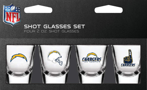 NFL Los Angeles Chargers Shot Glass Set4 Pack Shot Glass Set, Team Colors, One Size
