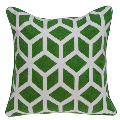 ArtFuzz 20 inch X 0.5 inch X 20 inch Transitional Green and White Pillow Cover