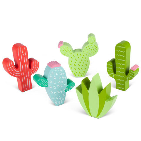 Gerson 93676 5 Asst Wood Cactus Sitabout Home Decor, 6.89InL x 1.38InW x 7.48InH, Multicolor