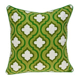 ArtFuzz 20 inch X 0.5 inch X 20 inch Transitional Green and White Accent Pillow Cover