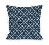 One Bella Casa Fence - Navy Ivory Throw Pillow by OBC 16 X 16
