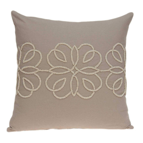 ArtFuzz 20 inch X 7 inch X 20 inch Stunning Transitional Tan Cotton Pillow Cover with Poly Insert