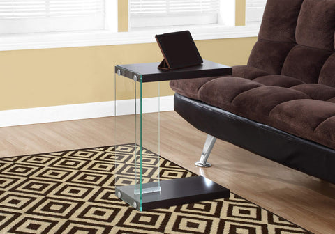 ArtFuzz 24.75 inch Particle Board and Clear Tempered Glass Accent Table