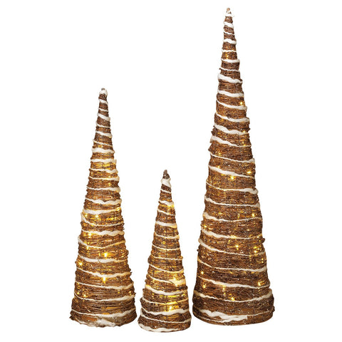 The Gerson Company Set of 3 Lighted Champagne Grapevine Trees White Trim and Gold Glitter Accents