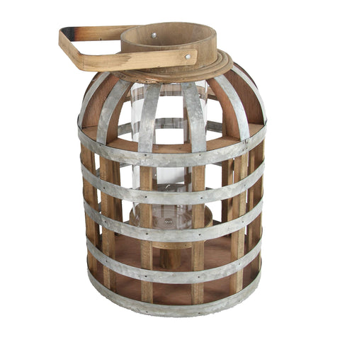 ArtFuzz D9.5x18 Wood/Metal Lantern,Small