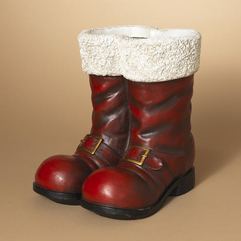 The Gerson Company Antiqued Red Santa Boots Figurine Planter Pot Vase Table Top Christmas Decor