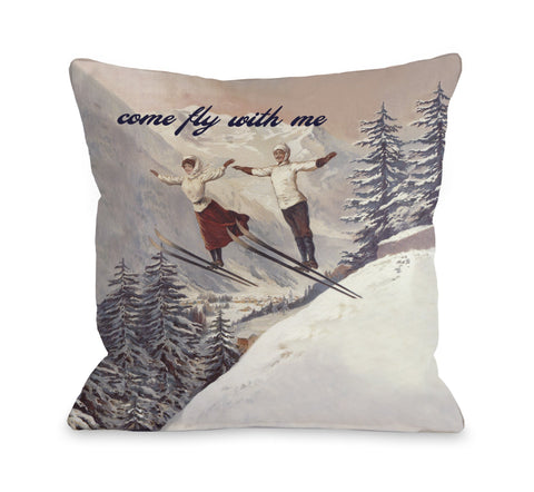One Bella Casa Come Fly with Me Vintage Ski Throw Pillow by OBC 16 X 16