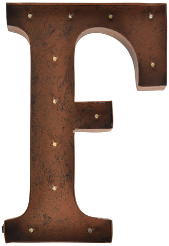 The Gerson Company F LED Lighted Metal Letter with Rustic Brown Finish