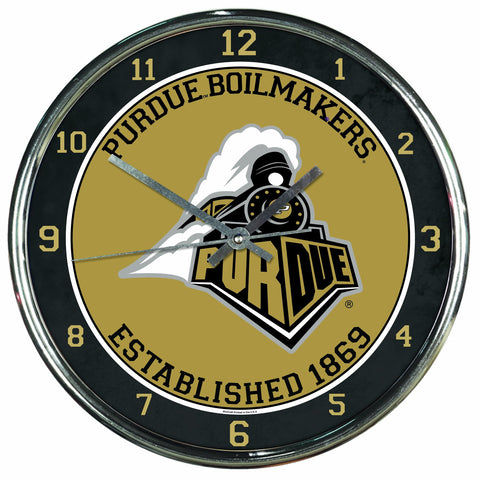 NCAA Purdue Boilermakers Chrome Clock