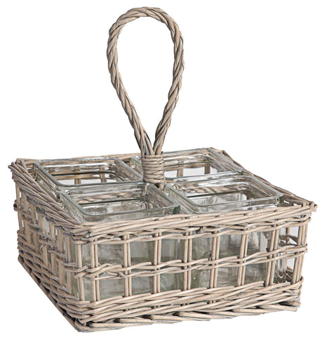 ArtFuzz 10x10x12 Glass Candle Holders in Willow Basket
