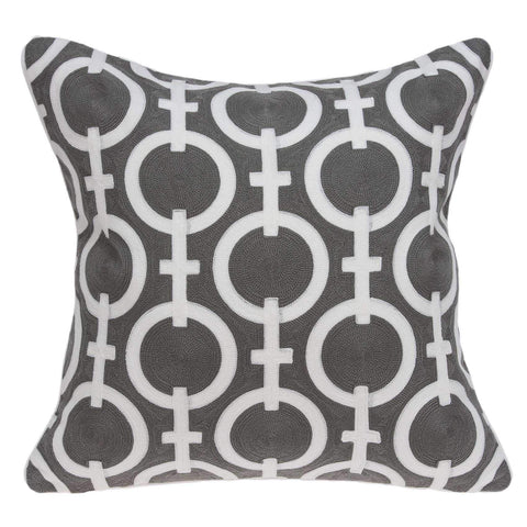 ArtFuzz 20 inch X 7 inch X 20 inch Transitional Gray and White Accent Pillow Cover with Poly Insert
