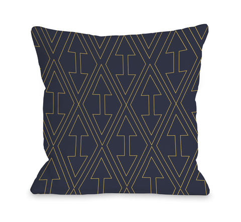 One Bella Casa Arrows & Diamonds - Navy Yellow Throw Pillow by OBC 16 X 16