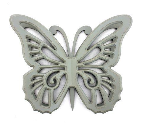 ArtFuzz 4.25 inch X 18.5 inch X 23.25 inch Gray Rustic Butterfly Wooden Wall Decor