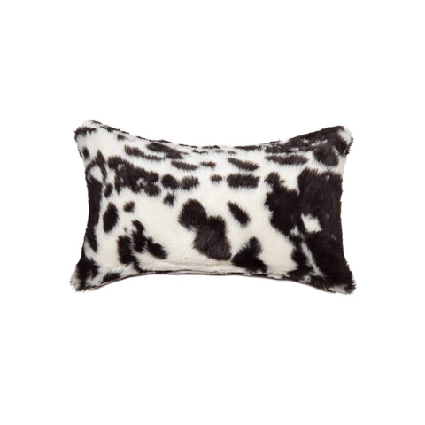 ArtFuzz 12 inch X 20 inch Brownsville Chocolate and White Faux Fur Pillow
