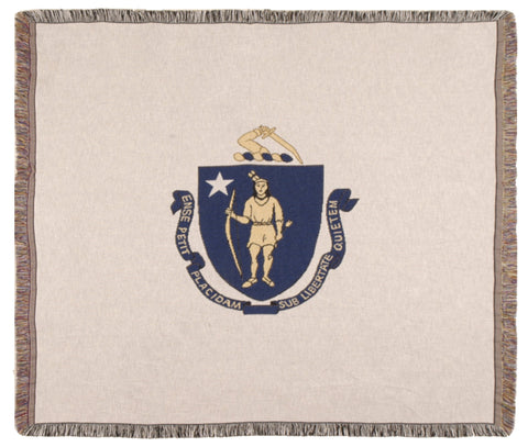 Simply Flag of Massachusetts Tapestry Throw