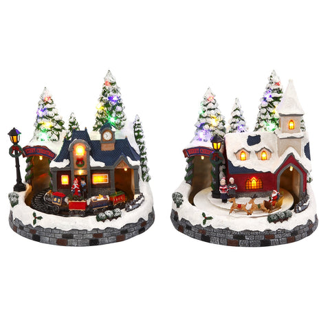 The Gerson Company Battery Operated Lighted Musical Animated Winter Holiday Snow Village Town Set