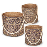 Gerson Set of 3 Jute Blue Printed Storage Tote with Rope Handle.