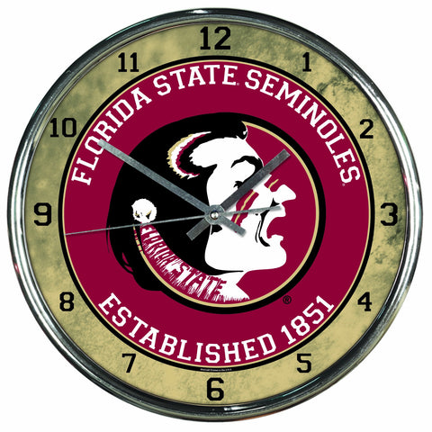 NCAA Florida State Seminoles Chrome Clock