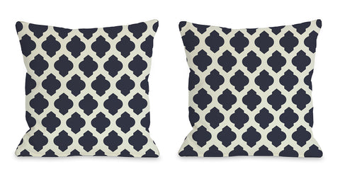 All Over Moroccan Pillow, Navy Ivory